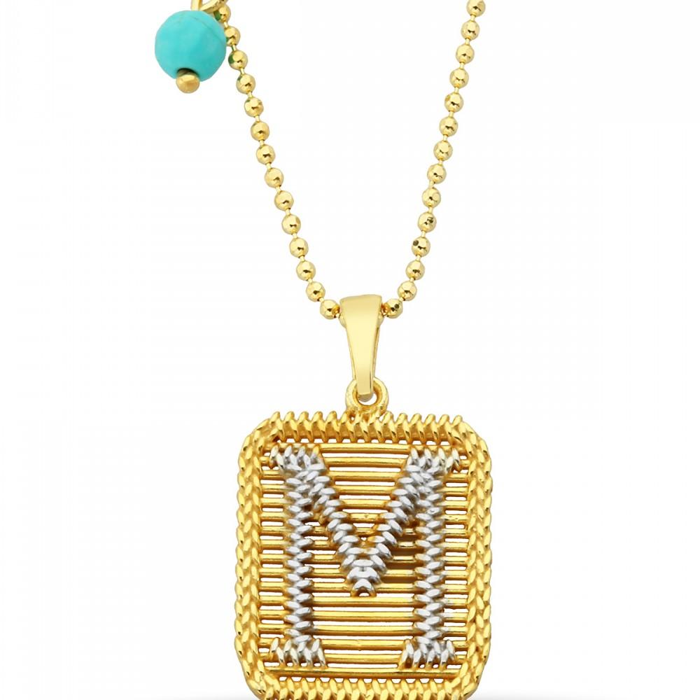 M Harfli Tasarım Altın Kolye